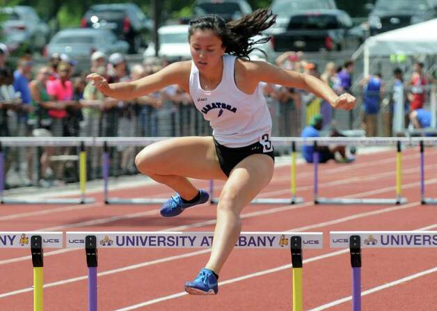 Ellery Bianco competes in the 400 hurdles during the New York State High School Track and Field Championships at UAlbany on Saturday June 13, 2015 in Albany , N.Y.  (Michael P. Farrell/Times Union) Photo: Michael P. Farrell / 10032256B
