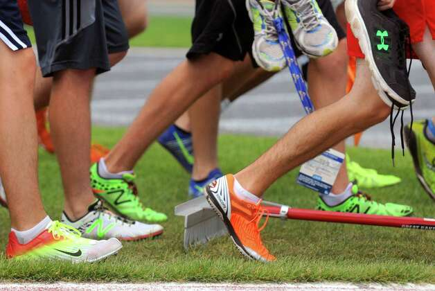 A plethora of colorful running shoes on display during the New York State High School Track and Field Championships at UAlbany on Saturday June 13, 2015 in Albany , N.Y.  (Michael P. Farrell/Times Union) Photo: Michael P. Farrell / 10032256B