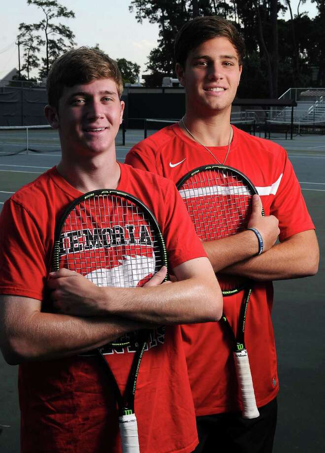 Memorial  junior Max Palmer, left, hopes to win another state title next season, while senior Sam Giammalva will play tennis for Texas A&M in the fall. Photo: Dave Rossman, Freelance / Freelalnce