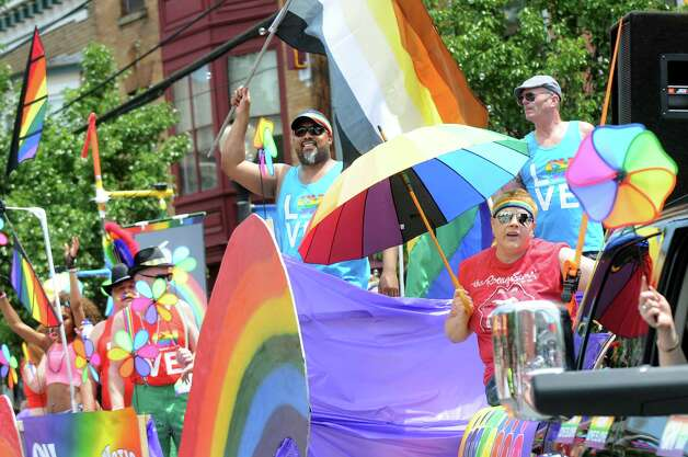 Participants ride on the Pride in Motion float during the Capital PRIDE Parade on Saturday, June 13, 2015, in Albany, N.Y. (Cindy Schultz / Times Union) Photo: Cindy Schultz / 00032232A