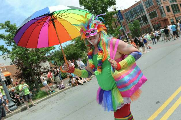 Michael Varrato of Albany wears his most festive outfit during the Capital PRIDE Parade on Saturday, June 13, 2015, in Albany, N.Y. (Cindy Schultz / Times Union) Photo: Cindy Schultz / 00032232A