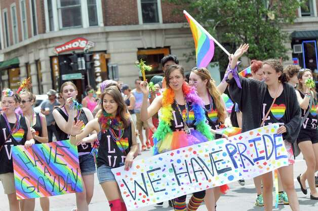 A contingent of young ladies show their pride during the Capital PRIDE Parade on Saturday, June 13, 2015, in Albany, N.Y. (Cindy Schultz / Times Union) Photo: Cindy Schultz / 00032232A