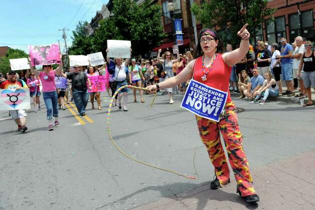 Paola Gonzalez shows off her talents with a whip during the Capital PRIDE Parade on Saturday, June 13, 2015, in Albany, N.Y. (Cindy Schultz / Times Union) Photo: Cindy Schultz / 00032232A