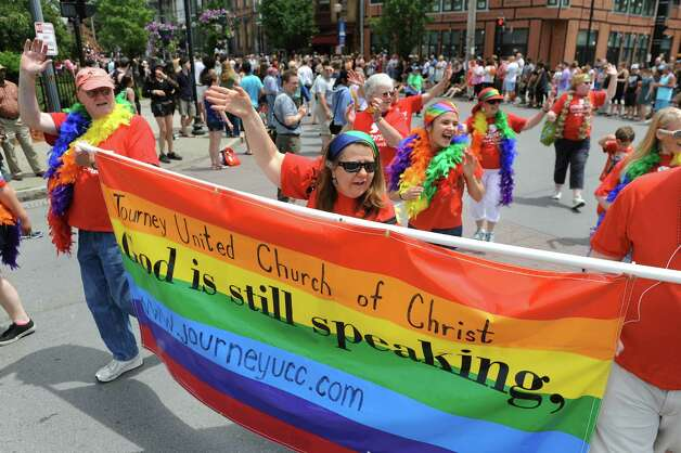 Members of the Journey United Church of Christ take part in the Capital PRIDE Parade on Saturday, June 13, 2015, in Albany, N.Y. (Cindy Schultz / Times Union) Photo: Cindy Schultz / 00032232A