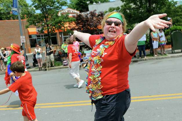 Amy Klein with the Journey United Church of Christ take part in the Capital PRIDE Parade on Saturday, June 13, 2015, in Albany, N.Y. (Cindy Schultz / Times Union) Photo: Cindy Schultz / 00032232A