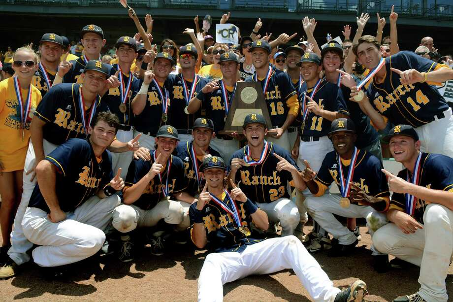 The Cy Ranch Mustangs show off their trophy after their 3-0 win over Arlington Martin in the 2015 UIL Class 6A State Baseball Championship final at Dell Diamond in Round Rock on Saturday, June 13, 2015. (Photo by Jerry Baker/Freelance)Cy Photo: Jerry Baker, For The Houston Chronicle