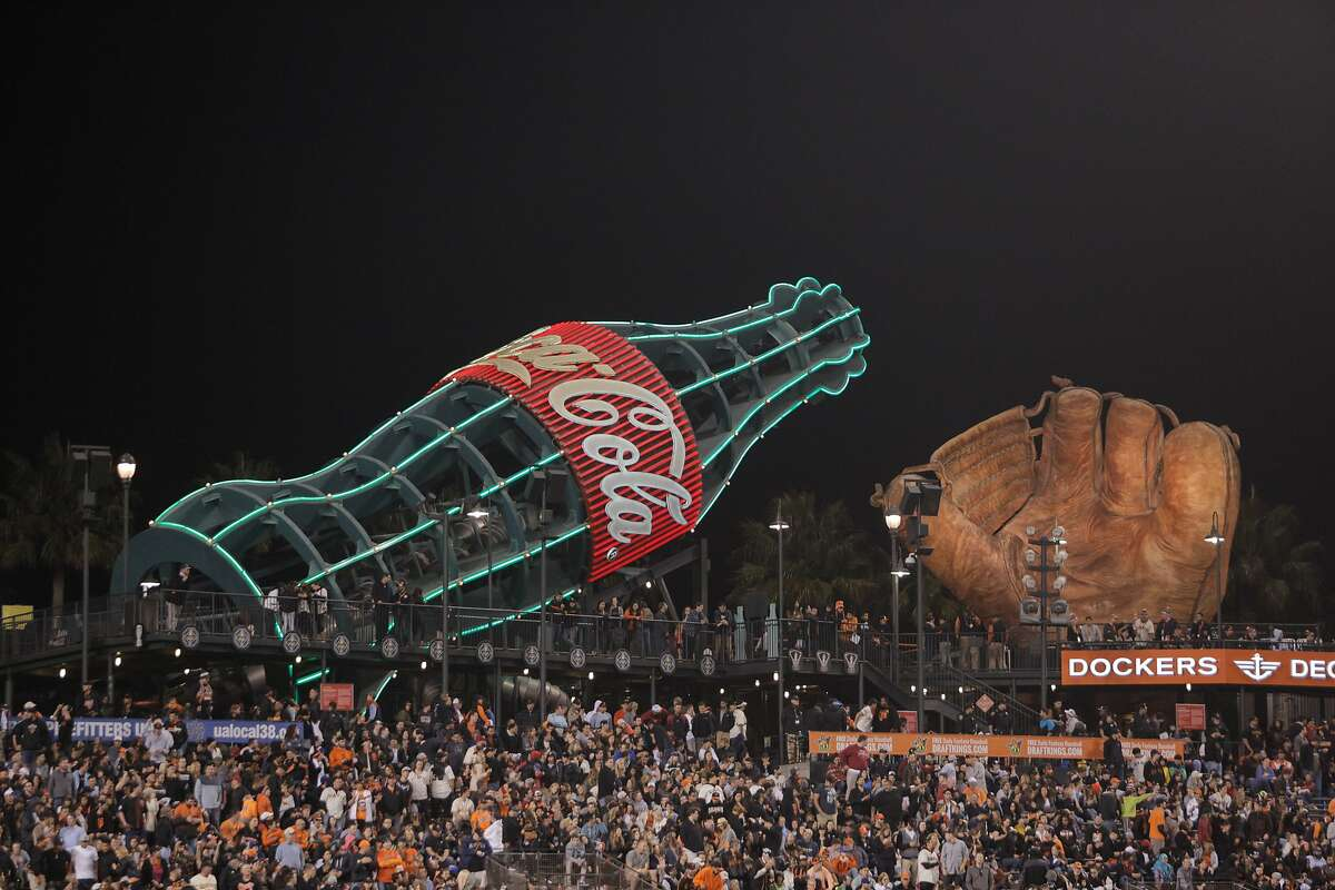 The world-famous Coke bottle slide at AT&T Park in San Francisco, CA, is seen on Friday, June 12, 2015. The City of San Francisco recently passed a law requiring that soda advertisements carry a warning label. Exempted are the giant neon Coca-Cola billboard along Interstate 80 near the Bay Bridge and the Giants' Coke bottle slide.