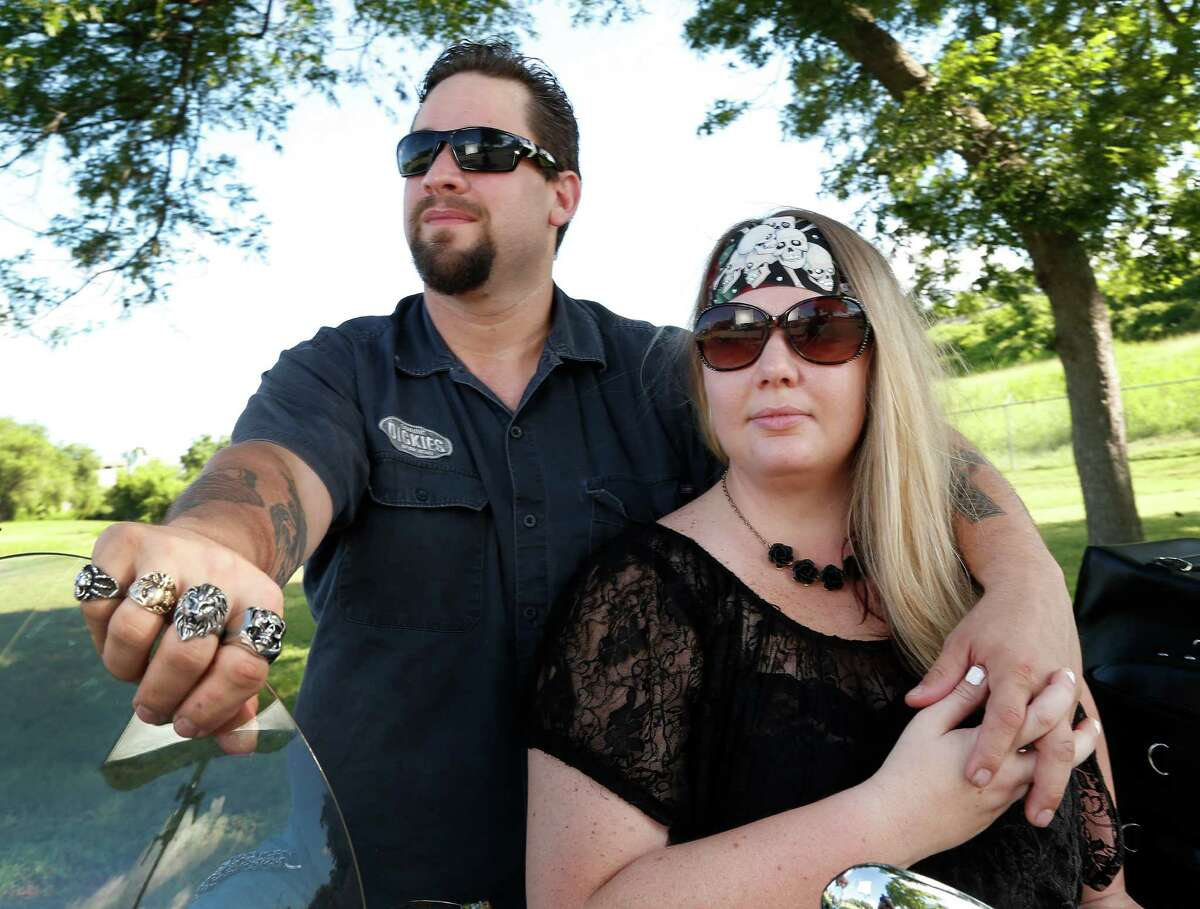 William and Morgan English with their Yamaha motorcycle, photographed on Tuesday, June 9, 2015, in Brenham. They were on site during the shootout at Twin Peaks in Waco, and both spent multiple days in jail They had just pulled up to the restaurant when the shooting started.