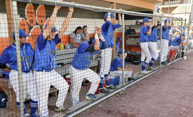 The Saratoga dugout watches as they lose the Class AA championship game to Mamaroneck Saturday June 13, 2015 in Endicott, NY.   (John Carl D'Annibale / Times Union) Photo: John Carl D'Annibale / 00032266A