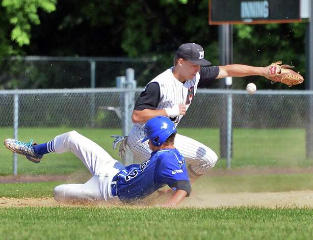 Saratoga's #2 Danny Coleman beats the throw to Mamaroneck's #20 Peter Matt during the Class AA championship game Saturday June 13, 2015 in Endicott, NY.   (John Carl D'Annibale / Times Union) Photo: John Carl D'Annibale / 00032266A