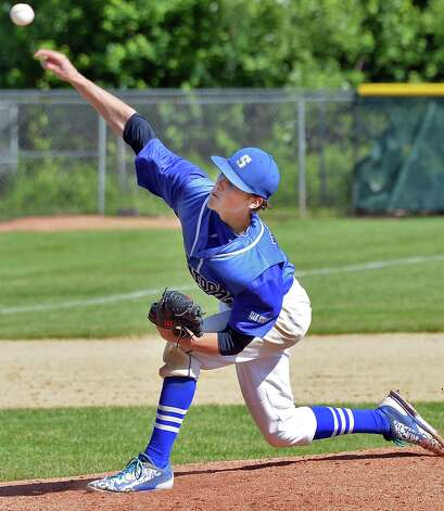 Saratoga's starting pitcher #2 Danny Coleman during their  Class AA championship game against Mamaroneck Saturday June 13, 2015 in Endicott, NY.   (John Carl D'Annibale / Times Union) Photo: John Carl D'Annibale / 00032266A
