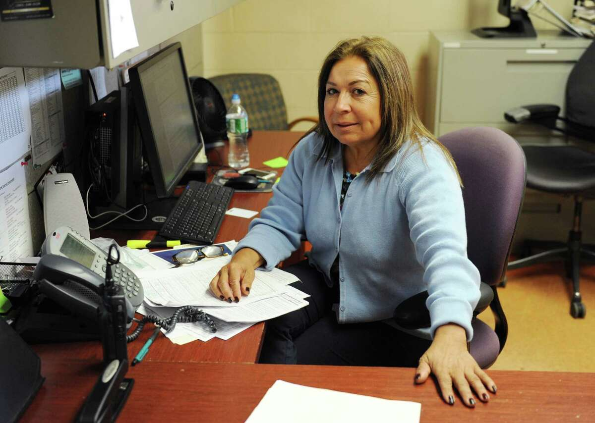 Eva Maldonado inside her office at the Stamford Police Department. Maldonado has led the city's Republican Town Committee for the past year.