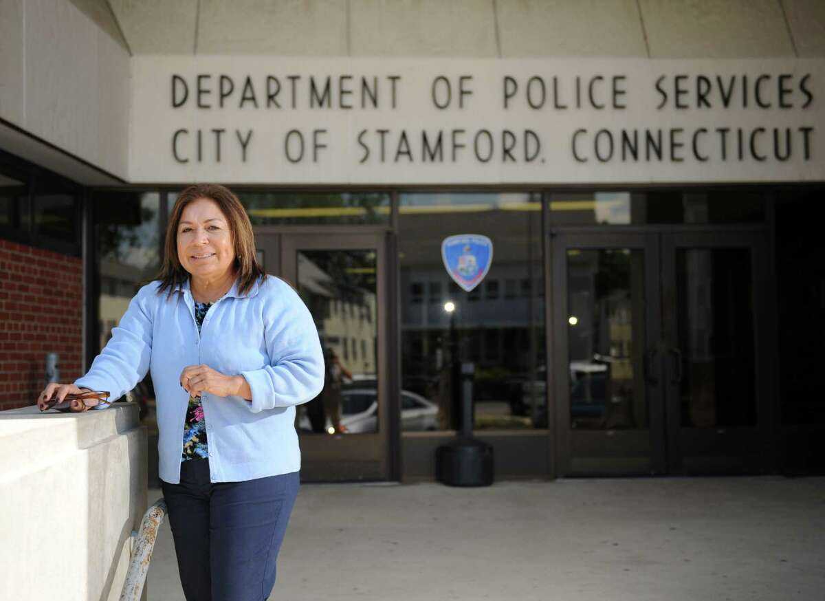 Eva Maldonado, chairwoman of the Stamford Republican Town Committee, outside her office at the Stamford Police Department.