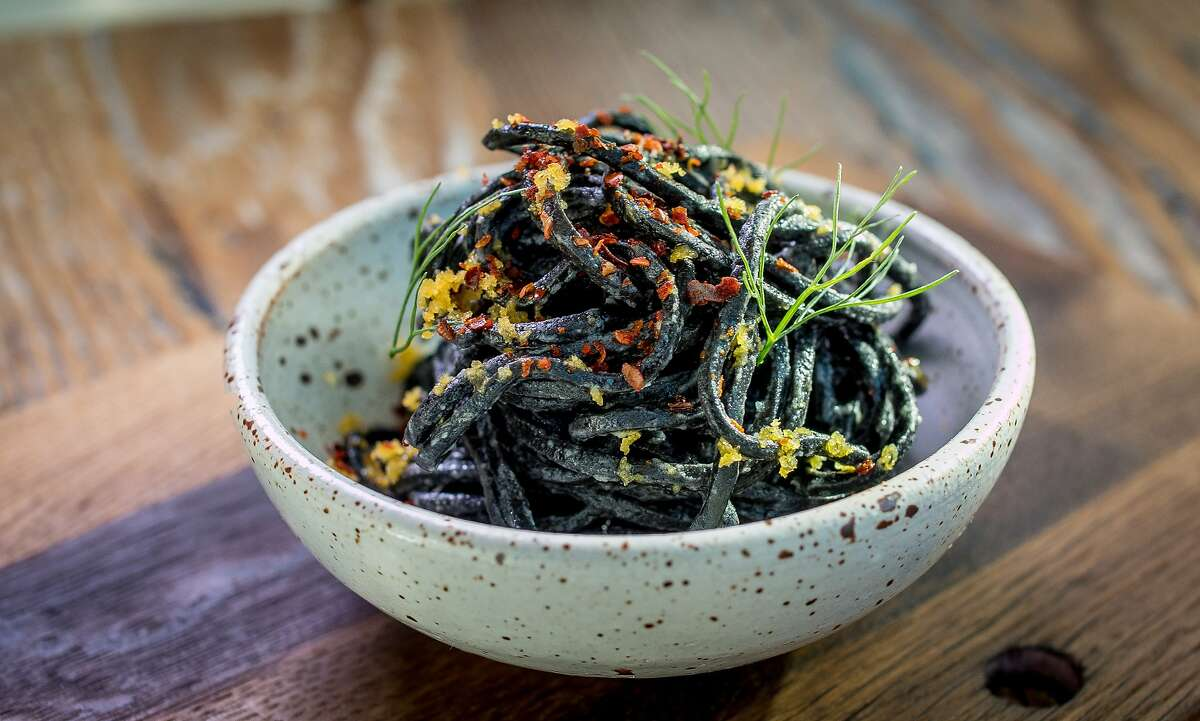 The chilled Squid Ink Noodles at Octavia in San Francisco, Calif., are seen on June 12th, 2015.