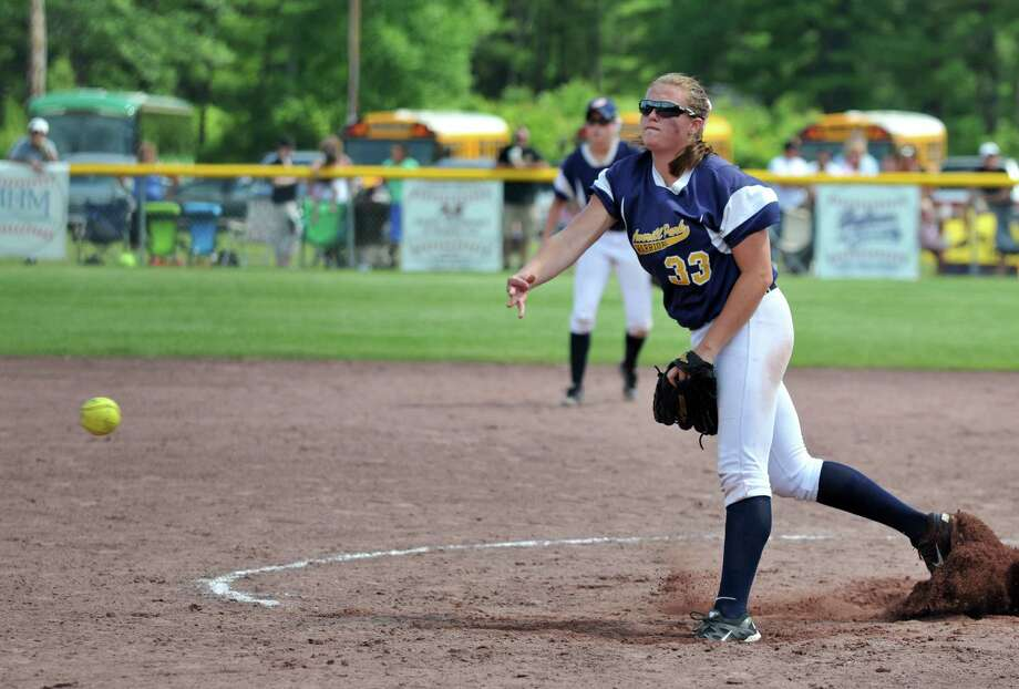 Averill Park pitcher Caraline Wood releases the ball during the Class A State Softball Final Saturday, June 13, 2015, in Moreau, N.Y. (Phoebe Sheehan/Special to the Times Union) Photo: PS / 00032267A