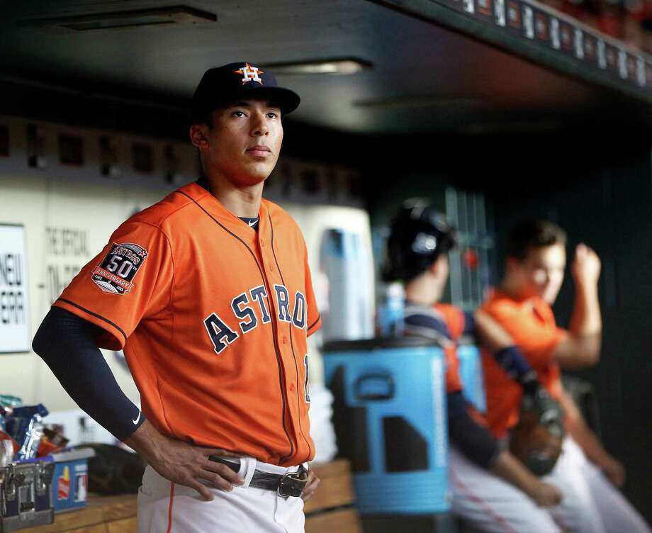Aside from possessing a rare combination of speed and power at just 20 years old, Astros phenom Carlos Correa is regarded as mature beyond his age and brings a strong work ethic and devotion to his family with him to the majors. Photo: Karen Warren, Staff / © 2015 Houston Chronicle