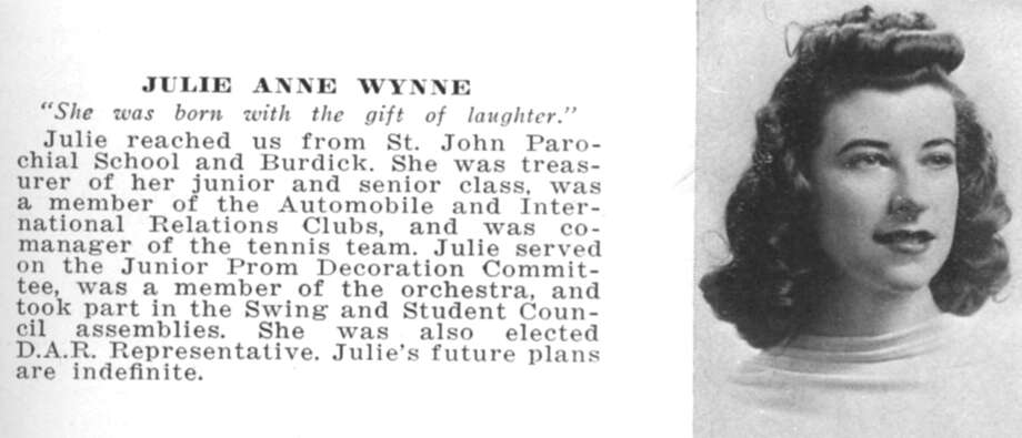 Julie Anne Wynne's entry in the 1940 Stamford High School yearbook. Photo: The Breunich Family / Contibuted / Stamford Advocate