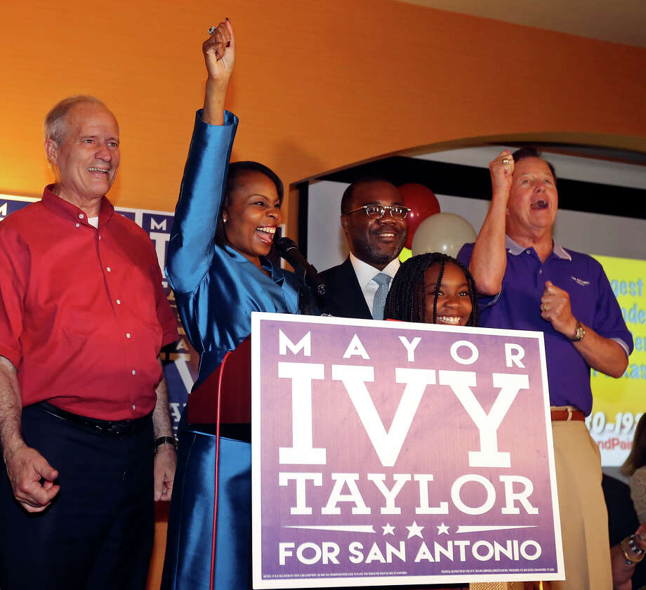 Former Bexar County Commissioner and mayoral candidate Tommy Adkisson (from left) celebrates with Mayor Ivy Taylor, her husband Rodney, daughter Morgan, and District 9 Councilman Joe Krier at a watch party held Saturday June 13, 2015 at the Wyndam Garden San Antonio Riverwalk Museum Reach Hotel. Photo: Edward A. Ornelas, Staff / San Antonio Express-News / © 2015 San Antonio Express-News
