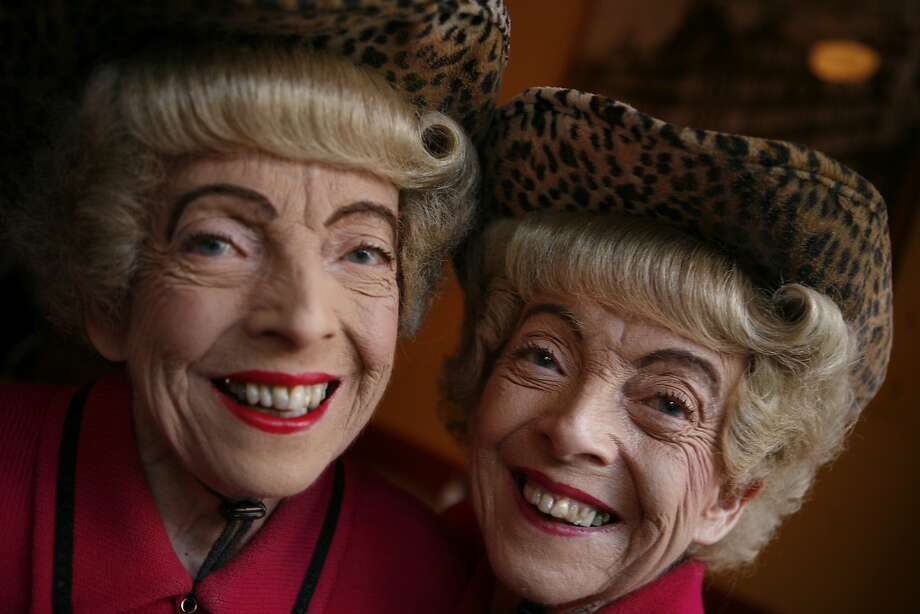 Parked in their usual window seat at Uncle Vito's, just below the crest of Nob Hill, the Brown twins — Marian and Vivian — are barely through their first glass of Merlot in 2008. Photo: Mike Kepka, The Chronicle