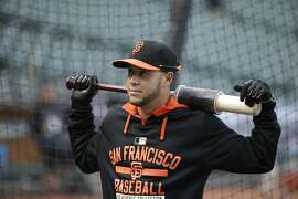 San Francisco Giants' Gregor Blanco during batting practice before the start of their baseball game against the Atlanta Braves Friday, May 29, 2015, in San Francisco. (AP Photo/Eric Risberg)