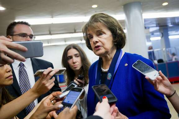 Senate Intelligence Committee Vice Chair Sen. Dianne Feinstein, D-Calif. speaks with reporters on Capitol Hill in Washington, Tuesday, June 2, 2015. The Senate sped toward passage Tuesday of legislation to end the National Security Agency's collection of Americans' calling records while preserving other surveillance authorities. But House leaders warned their Senate counterparts not to proceed with planned changes to a House version.(AP Photo/Pablo Martinez Monsivais)