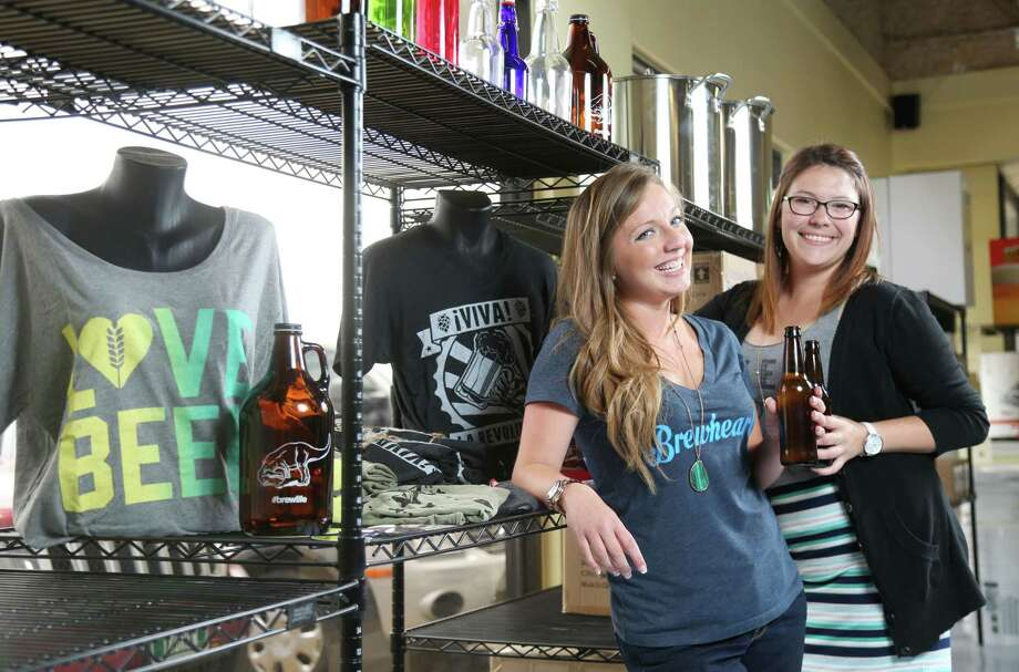 Shannon Parker (left), Heather Hamilton and Jesse Soto (not pictured) founded Brewheart Apparel. Photo: Jon Shapley /Houston Chronicle / © 2015 Houston Chronicle