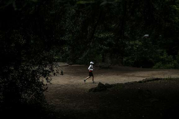 A runner runs through Old Mill Park during the 105th annual Dipsea Race in Mill Valley, Calif. on Sunday, June 14, 2015.
