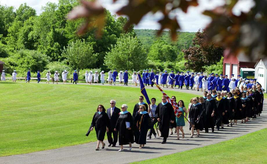 The processional for the commencement ceremony for the Cllass of 2015 at Shepaug Valley School in Washington, June 13, 2015