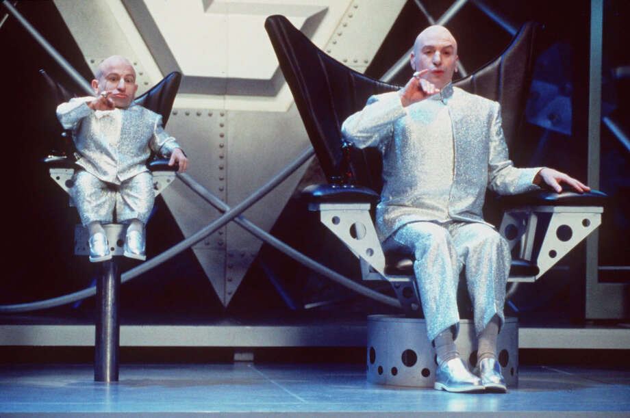 Mike Myers plays Dr. Evil (right) in comedic movie roles. On FrackFeed.com, the character provides information in support of hydraulic fracturing. Photo: K. Wright /Associated Press / New Line Cinema