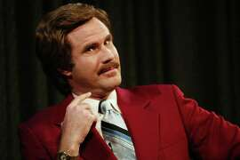 "Actor Will Ferrell aka Ron Burgundy participates in Q&A after a special screening of the film ""Anchorman: The Legend of Ron Burgundy"" at the Museum of Television and Radio July 7, 2004 in New York City. (Photo by Evan Agostini/Getty Images)"