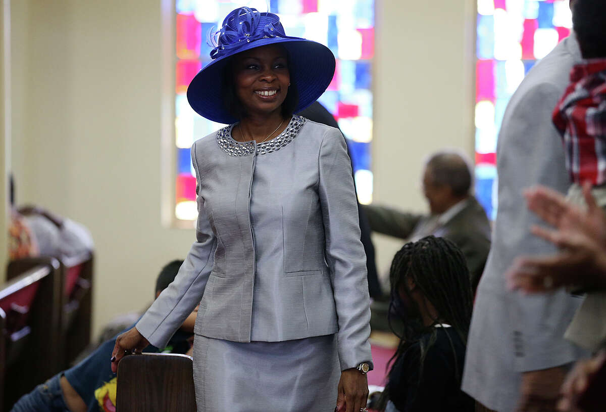 San Antonio Mayor Ivy Taylor looks around to greet visitors during Sunday Service at Greater Corinth Baptist Church, June 14, 2015. Taylor won a close election against former Texas State Senator Leticia Van de Putte Saturday night. Taylor was serving as interim mayor before becoming the first African-American elected to the office in the history of the city.