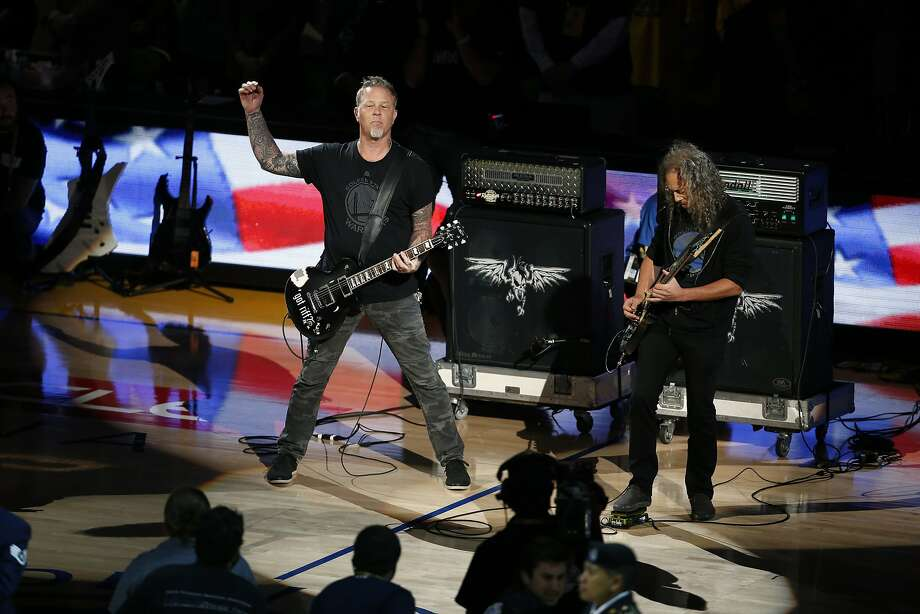 Metallica plays National Anthem before Golden State Warriors play  Cleveland Cavaliers during Game 5 of NBA Finals at Oracle Arena in Oakland, Calif., on Sunday, June 14, 2015. Photo: Scott Strazzante, The Chronicle