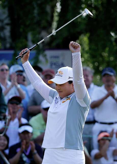 Inbee Park of South Korea joined Sweden's Annika Sorenstam as the only players to win the Women's PGA Championship three consecutive years. Photo: Julio Cortez, STF / AP