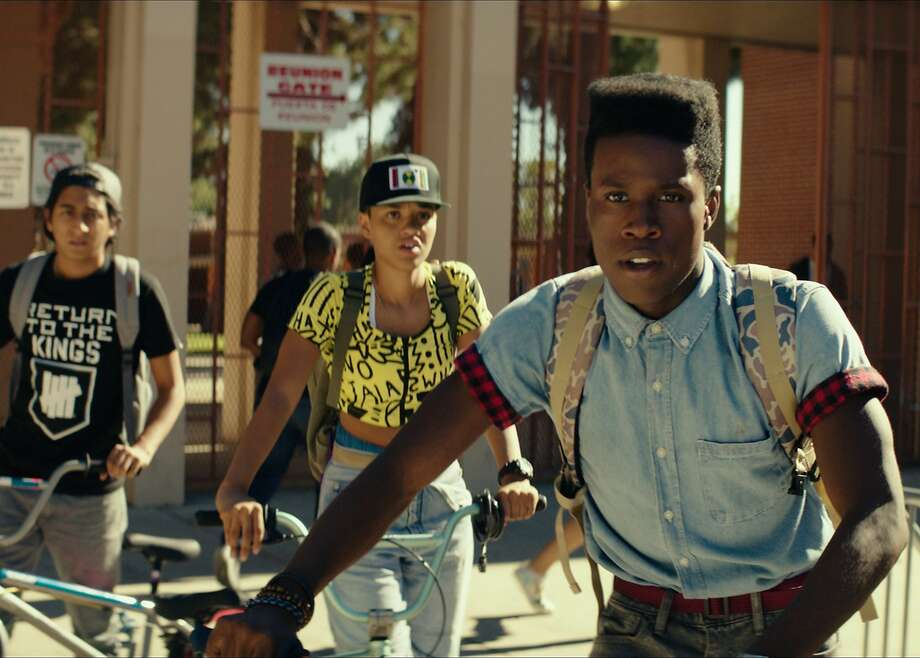 """Jib (Tony Revolori, left), Diggy (Kiersey Clemons) and Malcolm (Shameik Moore) co-star in the indie comedy """"Dope,"""" about three friends into '90s hip-hop, computers and punk rock in Inglewood. Photo: Open Road"""
