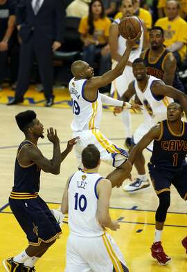 Golden State Warriors' Leandro Barbosa scores against Cleveland Cavaliers in 4th quarter of Warriors' 104-91 win during Game 5 of NBA Finals at Oracle Arena in Oakland, Calif., on Sunday, June 14, 2015.