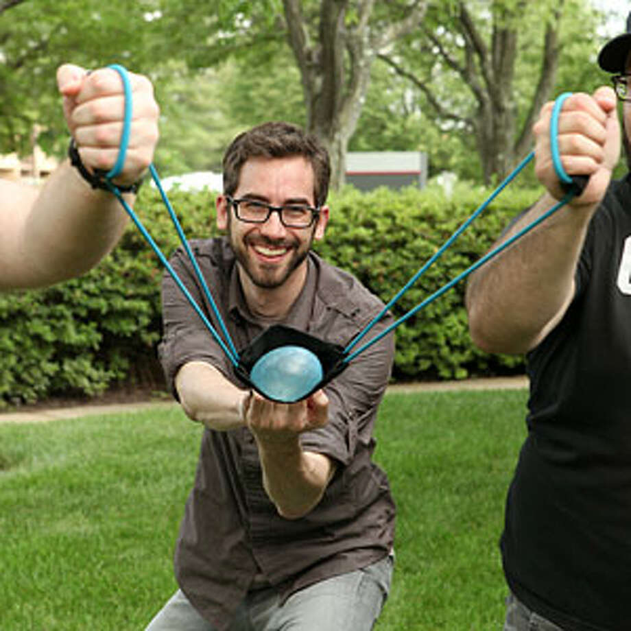 Water Balloon Slingshot: Rain down on the neighbors! Launch water balloons up to 300 feet. Requires three people to operate. ThinkGeek, $12.99.