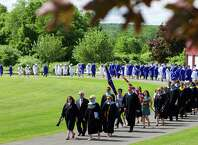 The processional for the commencement ceremony for the Class of 2015 at Shepaug Valley School in Washington, June 13, 2015