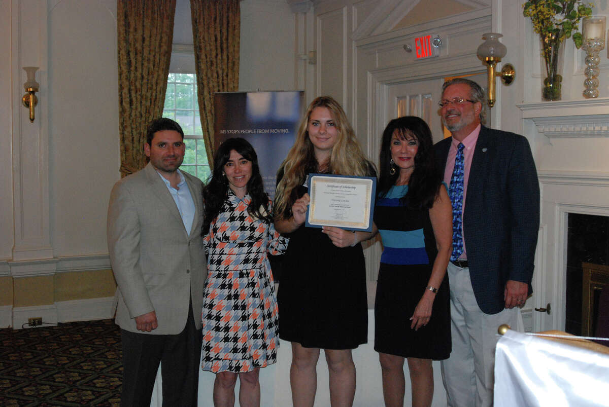 Victoria Covino, center, received the Jo-Ann Concilio Memorial Scholarship from the national MS Society's Connecticut Chapter.