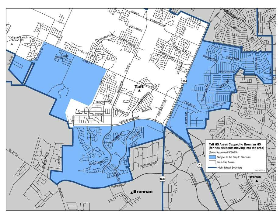 This is a map showing the areas that will be affected by the cap on Taft High School enrollment for the years 2015-2017. Photo: Courtesy / NISD