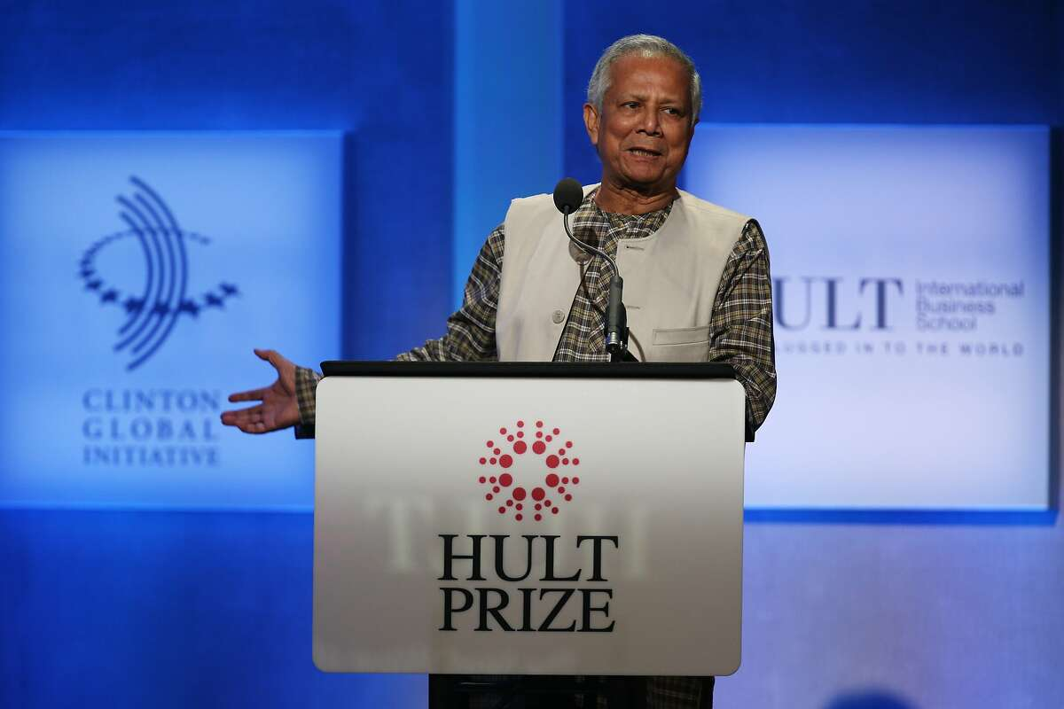 Muhammad Yunus, Nobel Prize Winner and Founder of Grameen Bank, speaks during The Hult Prize Finals on the first day of President Bill Clinton's annual CGI meeting in New York on Sept. 23, 2013. (John Minchillo/AP Images for Hult Prize)