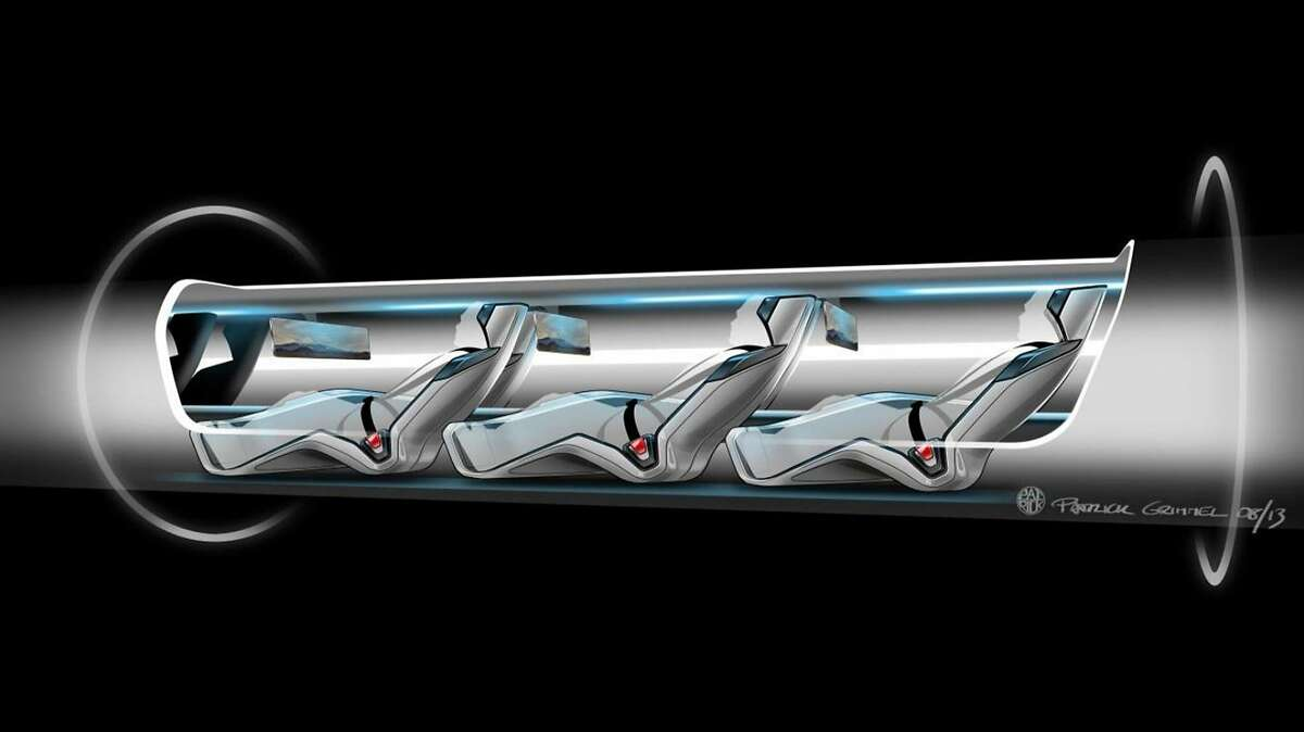 This conceptual design rendering provided by SpaceX shows a Hyperloop passenger transport capsule within a tube, the core of a high-speed system that billionaire Elon Musk suggested two years ago, that would zoom passenger capsules through elevated tubes at the speed of sound. The 400-mile trip between Los Angeles and San Francisco would take a half-hour. Musk's company, SpaceX, announced Monday, June 15, 2015 that it plans to build a one-mile test track next to its headquarters in Hawthorne, Calif. The company will hold a competition there next year with teams testing designs for Hyperloop passenger pods. (SpaceX via AP)