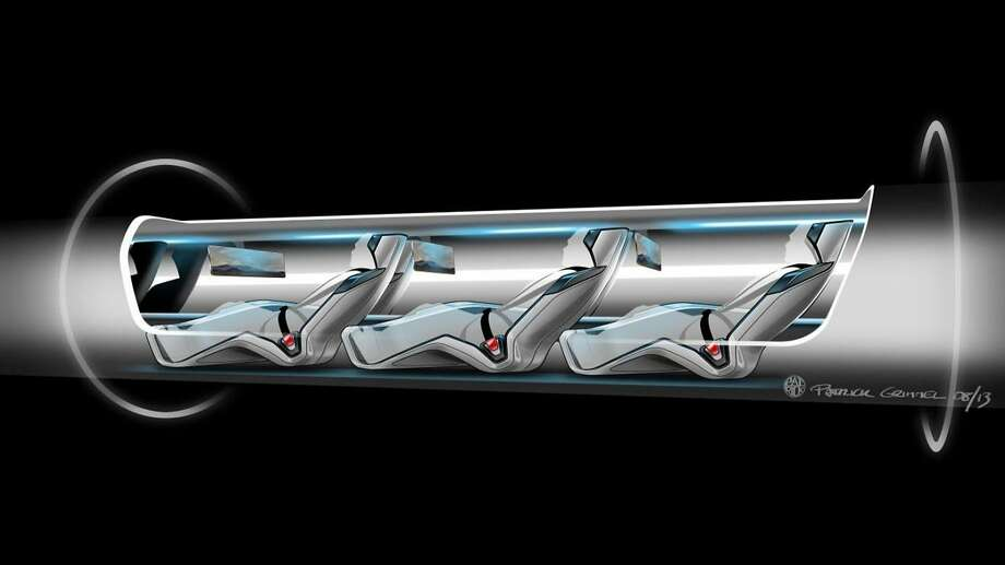 This conceptual design rendering provided by SpaceX shows a Hyperloop passenger transport capsule within a tube, the core of a high-speed system that billionaire Elon Musk suggested two years ago, that would zoom passenger capsules through elevated tubes at the speed of sound. The 400-mile trip between Los Angeles and San Francisco would take a half-hour. Musk's company, SpaceX, announced Monday, June 15, 2015 that it plans to build a one-mile test track next to its headquarters in Hawthorne, Calif. The company will hold a competition there next year with teams testing designs for Hyperloop passenger pods. (SpaceX via AP) Photo: Associated Press