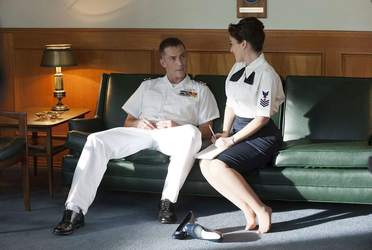"""This photo provided by ABC shows, Desmond Harrington, left, and Christina DeRosa, in a scene from the new television drama series, """"The Astronauts Wives Club,"""" premiering Thursday, June 18, 2015, (8:00-9:00 p.m., ET) on the ABC Television Network. (Cook Allender/ABC via AP)"""