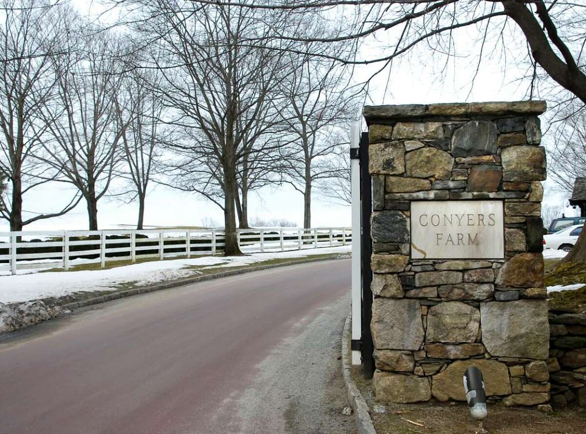 The Conyers Farm entrance to Hurlingham Drive in Greenwich, a private gated community, where Republican candidate for U.S. Senate, Linda McMahon, has a residence on Hurlingham Drive.
