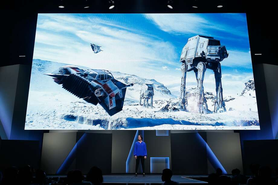 "LOS ANGELES, CA - JUNE 15:  Dice senior producer Sigurlína Ingvarsdottir introduces ""Star Wars Battlefront"" during the Electronic Arts E3 press conference at the LA Sports Arena on June 15, 2015 in Los Angeles, California. The EA press conference is held in conjunction with the annual Electronic Entertainment Expo (E3) which focuses on gaming systems and interactive entertainment, featuring introductions to new products and technologies.  (Photo by Christian Petersen/Getty Images) Photo: Christian Petersen, Getty Images"