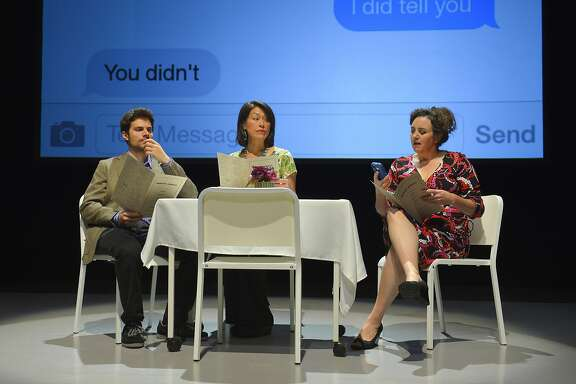 """Joel Bernard, left, Mia Tagano and Cindy Goldfield  in one of the 57 scenes that make up Caryl Churchill's """"Love and Information"""" at ACT's Strand Theater"""