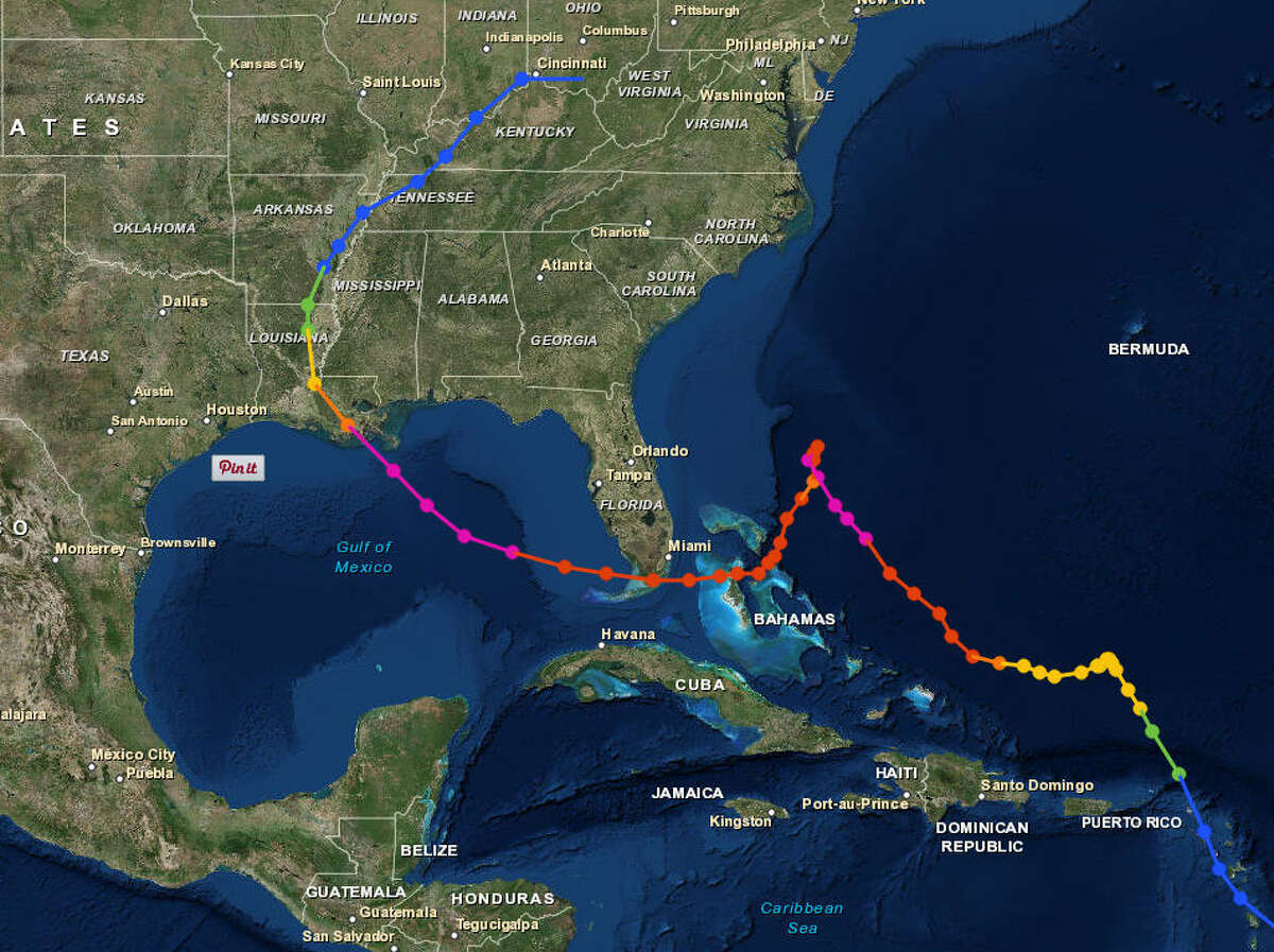 Hurricane Betsy, 1965 Formed in the Atlantic, Betsy tracked north toward the Carolinas, before doing a hard redirect near the Bahamas and sweeping south into the gulf, past Florida and through Louisana.