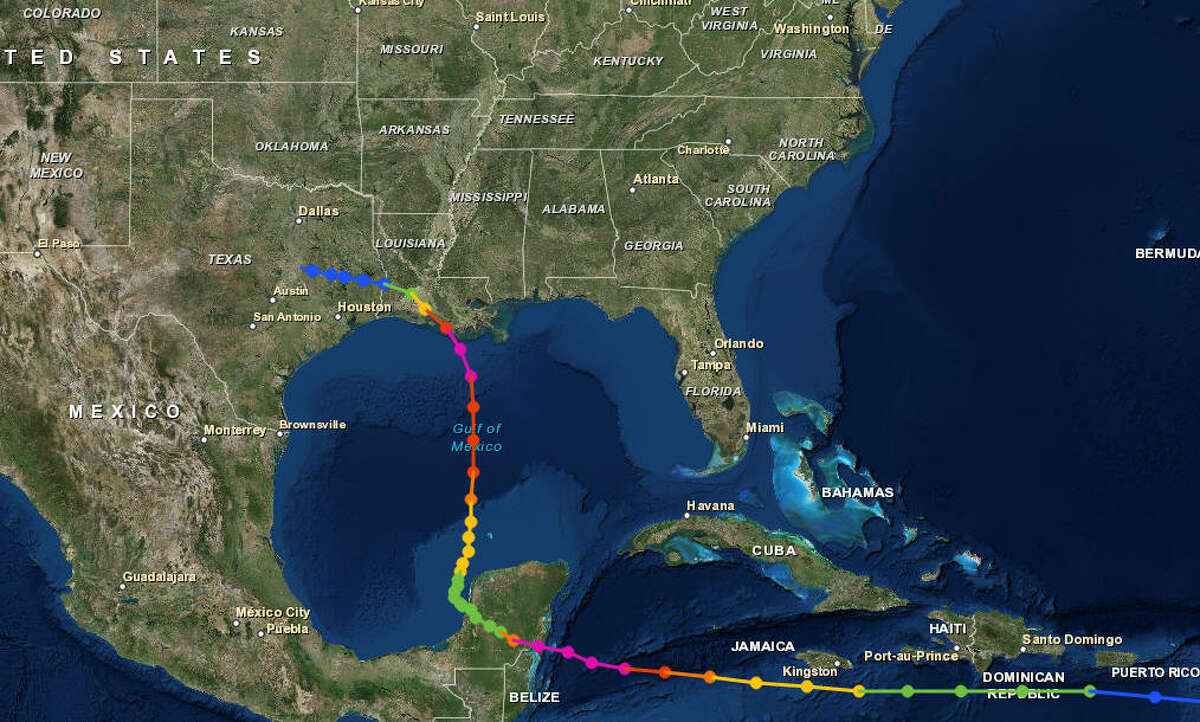 Hurricane Carmen, 1974 The storm retained a relatively flat trajectory until it hit the Yucatan Peninsula and made a hard 90-degree northward turn across the gulf for Louisiana.