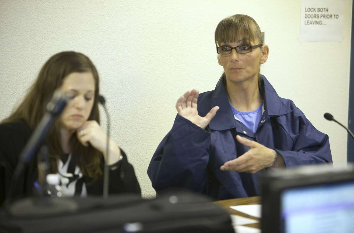 Inmate Michelle-Lael Norsworthy, right, speaks as her attorney Kate Brosgart listens during her parole hearing at Mule Creek State Prison in Ione, Calif., Thursday, May 21, 2015. A federal judge ordered The California Department of Corrections and Rehabilitation to provide the transgender inmate with sex reassignment surgery, the first time such an operation has been ordered in the state. The parole board granted Norsworthy's request for parole which could change her possibility of surgery while in custody.