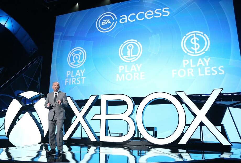 Peter Moore, chief operating officer of Electronic Arts, discusses its digital gaming service, EA Access. Photo: Casey Rodgers, Associated Press